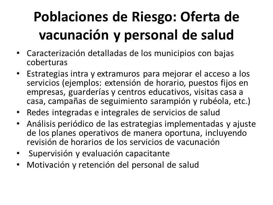 Poblaciones de Riesgo: Oferta de vacunación y personal de salud Caracterización detalladas de los municipios con bajas coberturas Estrategias intra y
