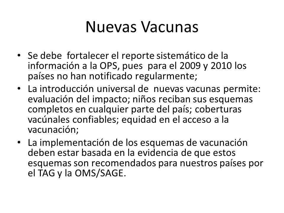 Nuevas Vacunas Se debe fortalecer el reporte sistemático de la información a la OPS, pues para el 2009 y 2010 los países no han notificado regularment