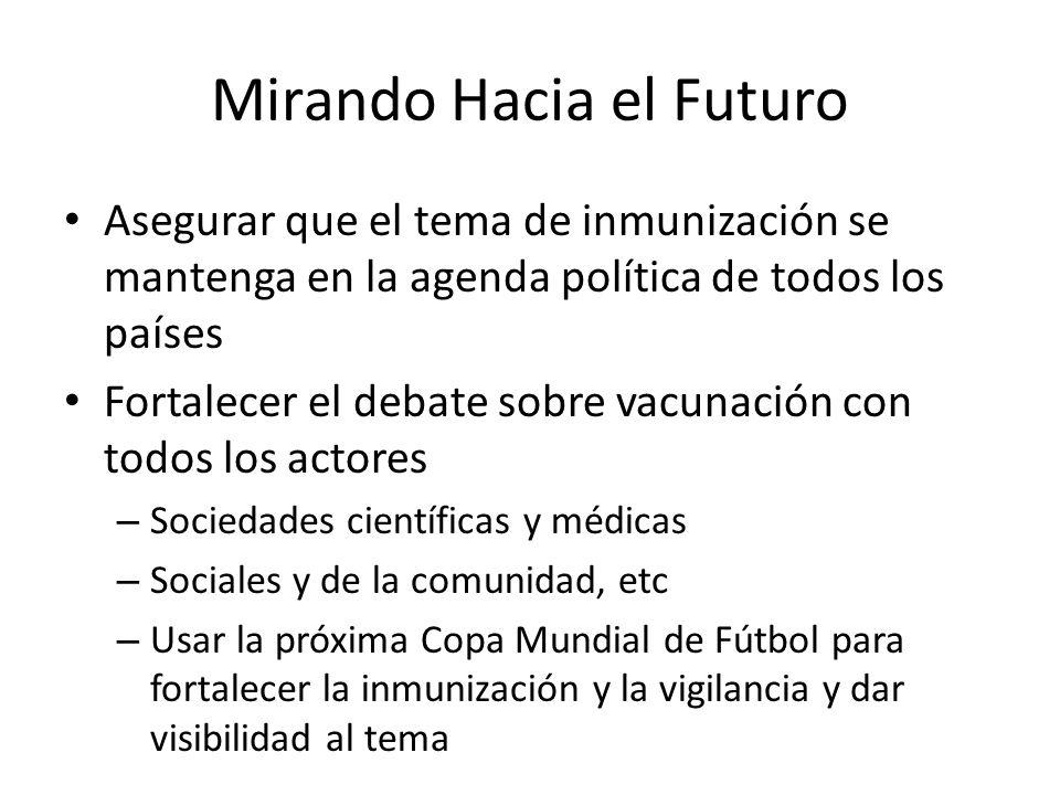 Mirando Hacia el Futuro Asegurar que el tema de inmunización se mantenga en la agenda política de todos los países Fortalecer el debate sobre vacunaci