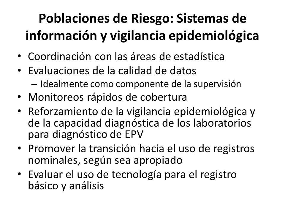 Poblaciones de Riesgo: Sistemas de información y vigilancia epidemiológica Coordinación con las áreas de estadística Evaluaciones de la calidad de dat