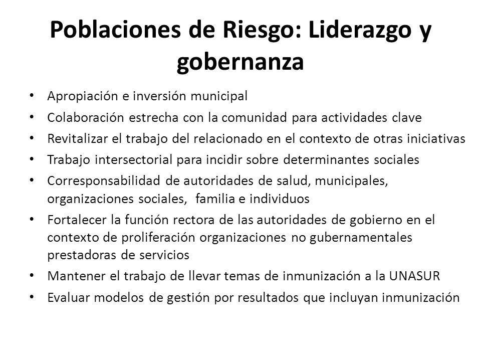Poblaciones de Riesgo: Liderazgo y gobernanza Apropiación e inversión municipal Colaboración estrecha con la comunidad para actividades clave Revitali
