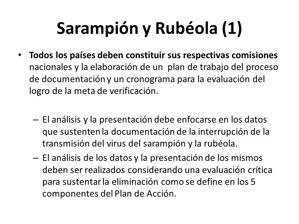 Sarampión y Rubéola (1) Todos los países deben constituir sus respectivas comisiones nacionales y la elaboración de un plan de trabajo del proceso de