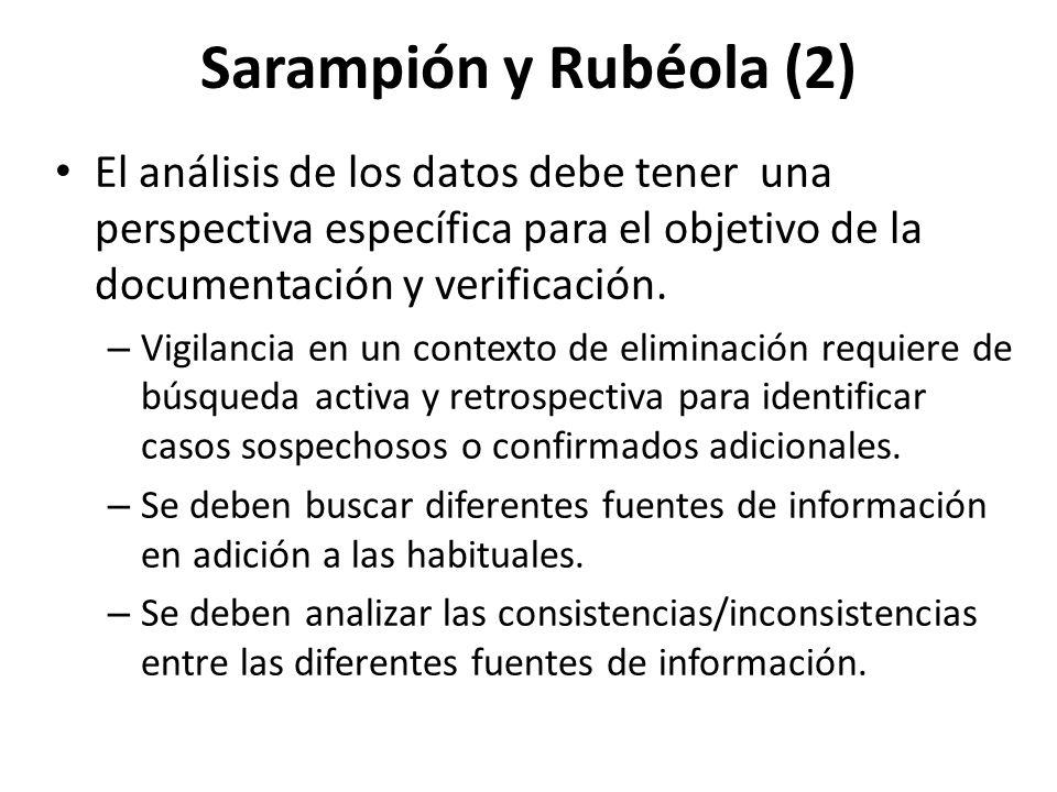 Sarampión y Rubéola (2) El análisis de los datos debe tener una perspectiva específica para el objetivo de la documentación y verificación. – Vigilanc