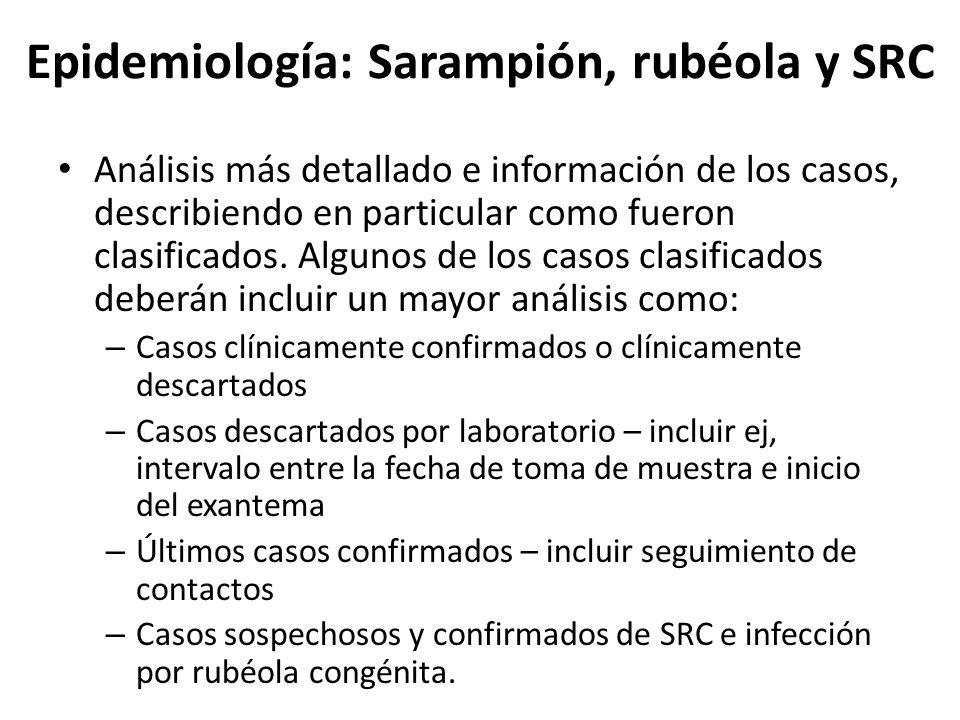 Epidemiología: Sarampión, rubéola y SRC Análisis más detallado e información de los casos, describiendo en particular como fueron clasificados. Alguno