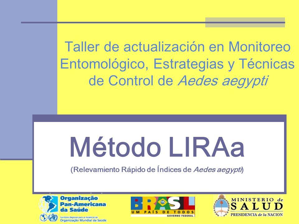 Método LIRAa -Temas Concepto y fundamentos del muestreo Nociones de reconocimiento geográfico Logística y incumbencias Presentación del software de trabajo Ejemplo de aplicación Trabajo práctico