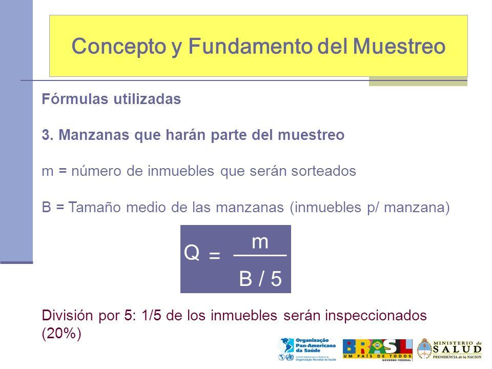 Concepto y Fundamento del Muestreo Fórmulas utilizadas 3. Manzanas que harán parte del muestreo m = número de inmuebles que serán sorteados B = Tamaño