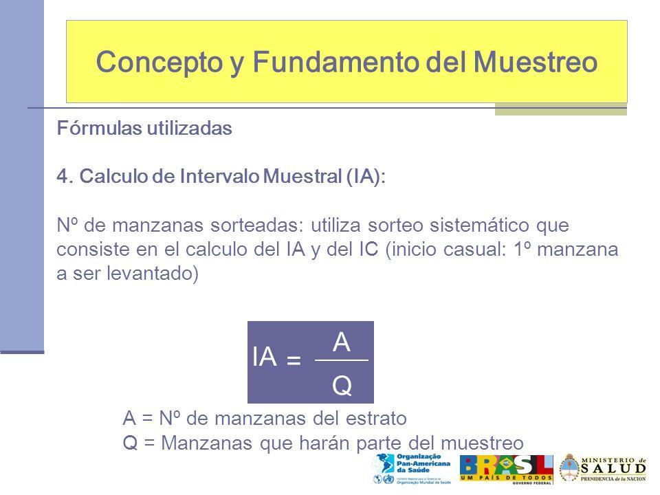 Concepto y Fundamento del Muestreo Fórmulas utilizadas 4. Calculo de Intervalo Muestral (IA): Nº de manzanas sorteadas: utiliza sorteo sistemático que