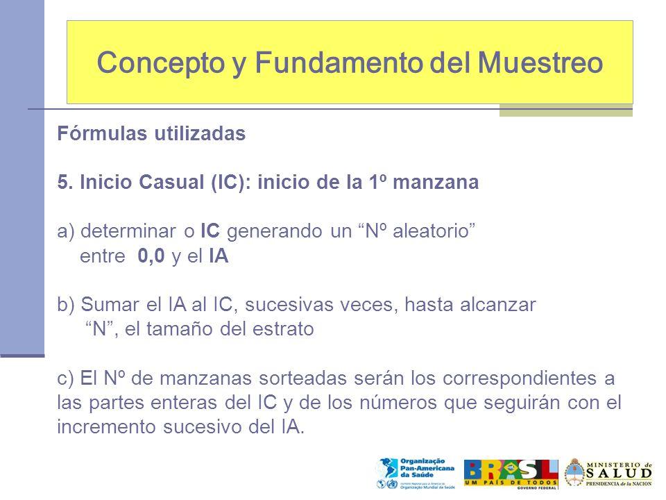 Concepto y Fundamento del Muestreo Fórmulas utilizadas 5. Inicio Casual (IC): inicio de la 1º manzana a) determinar o IC generando un Nº aleatorio ent