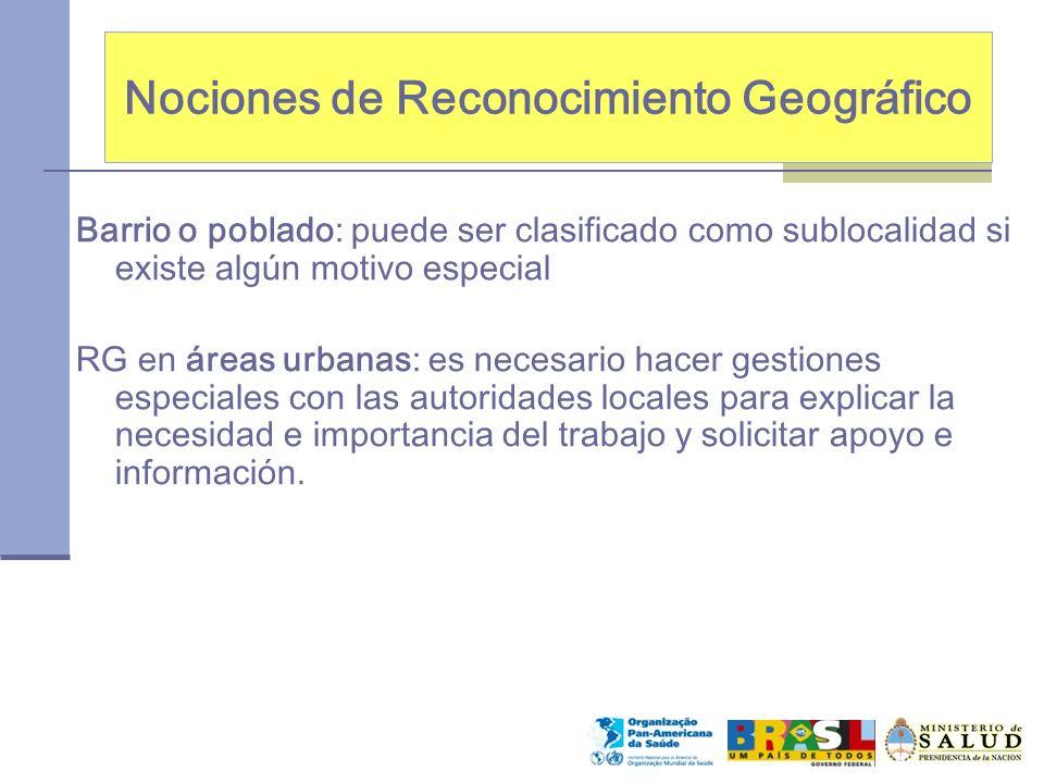 Nociones de Reconocimiento Geográfico Barrio o poblado: puede ser clasificado como sublocalidad si existe algún motivo especial RG en áreas urbanas: e