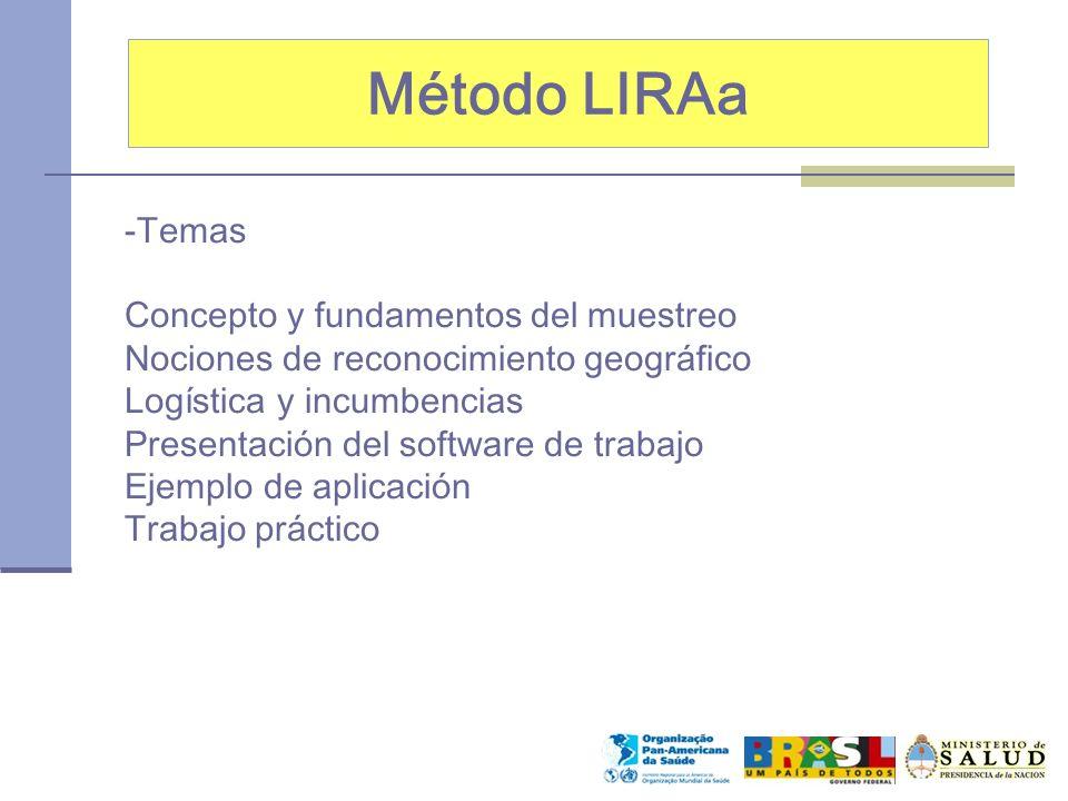 Método LIRAa -Temas Concepto y fundamentos del muestreo Nociones de reconocimiento geográfico Logística y incumbencias Presentación del software de tr