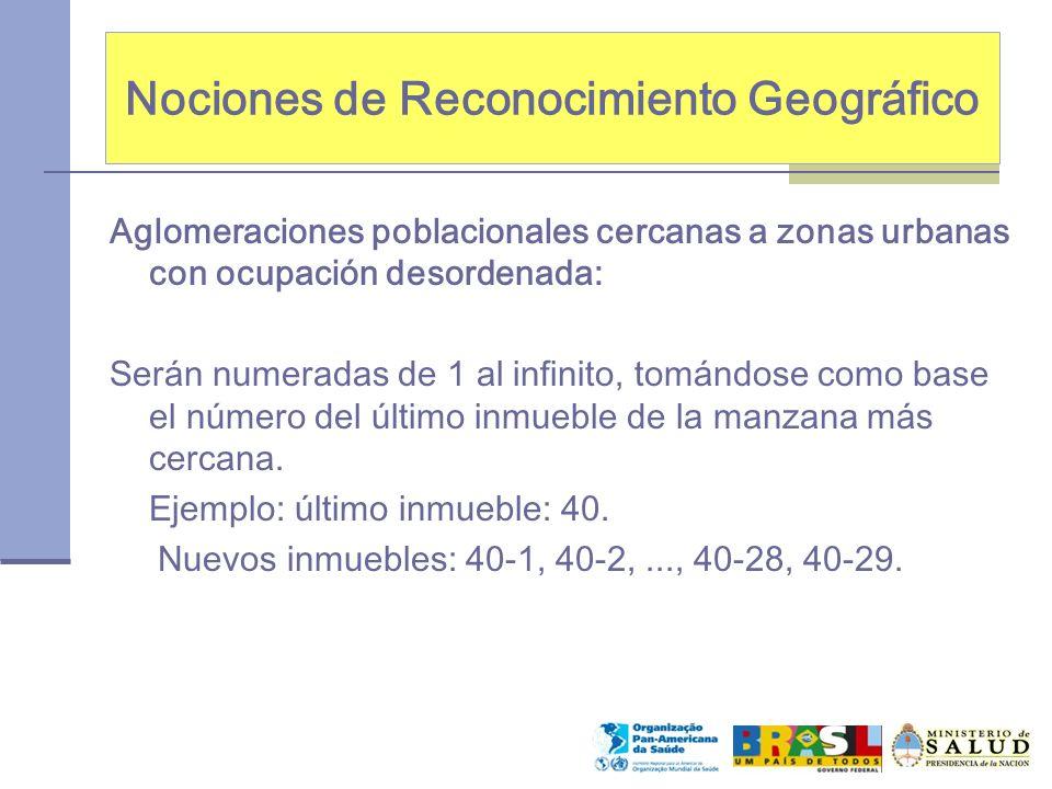 Nociones de Reconocimiento Geográfico Aglomeraciones poblacionales cercanas a zonas urbanas con ocupación desordenada: Serán numeradas de 1 al infinit