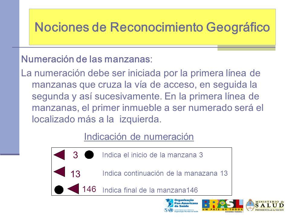 Nociones de Reconocimiento Geográfico Numeración de las manzanas: La numeración debe ser iniciada por la primera línea de manzanas que cruza la vía de acceso, en seguida la segunda y así sucesivamente.