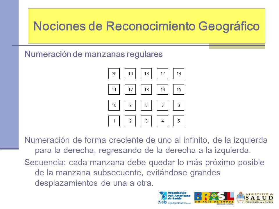 Nociones de Reconocimiento Geográfico Numeración de manzanas regulares Numeración de forma creciente de uno al infinito, de la izquierda para la derecha, regresando de la derecha a la izquierda.