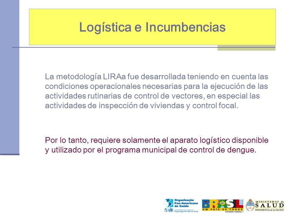 Logística e Incumbencias La metodología LIRAa fue desarrollada teniendo en cuenta las condiciones operacionales necesarias para la ejecución de las ac
