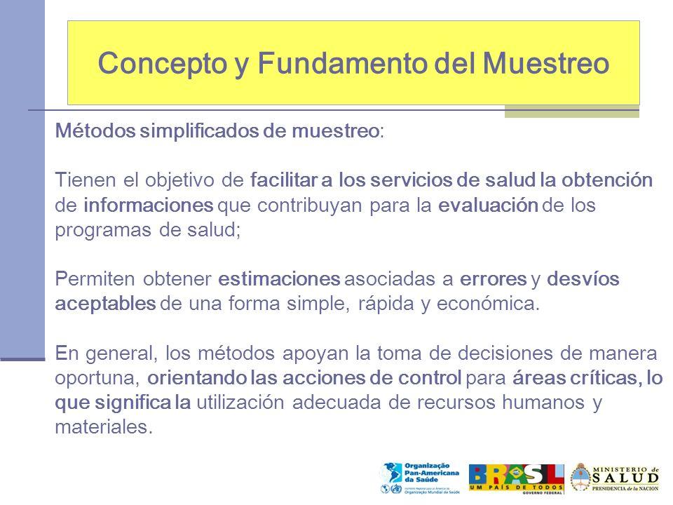 Concepto y Fundamento del Muestreo Métodos simplificados de muestreo: Tienen el objetivo de facilitar a los servicios de salud la obtención de informa