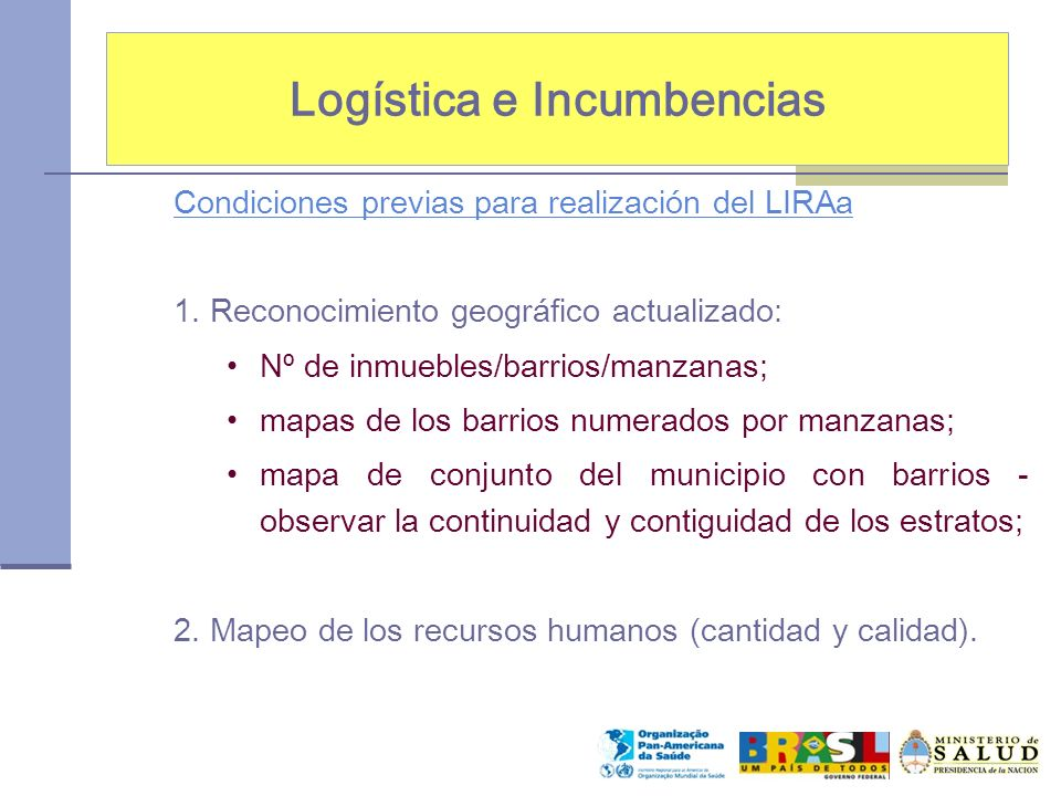 Logística e Incumbencias Condiciones previas para realización del LIRAa 1. Reconocimiento geográfico actualizado: Nº de inmuebles/barrios/manzanas; ma