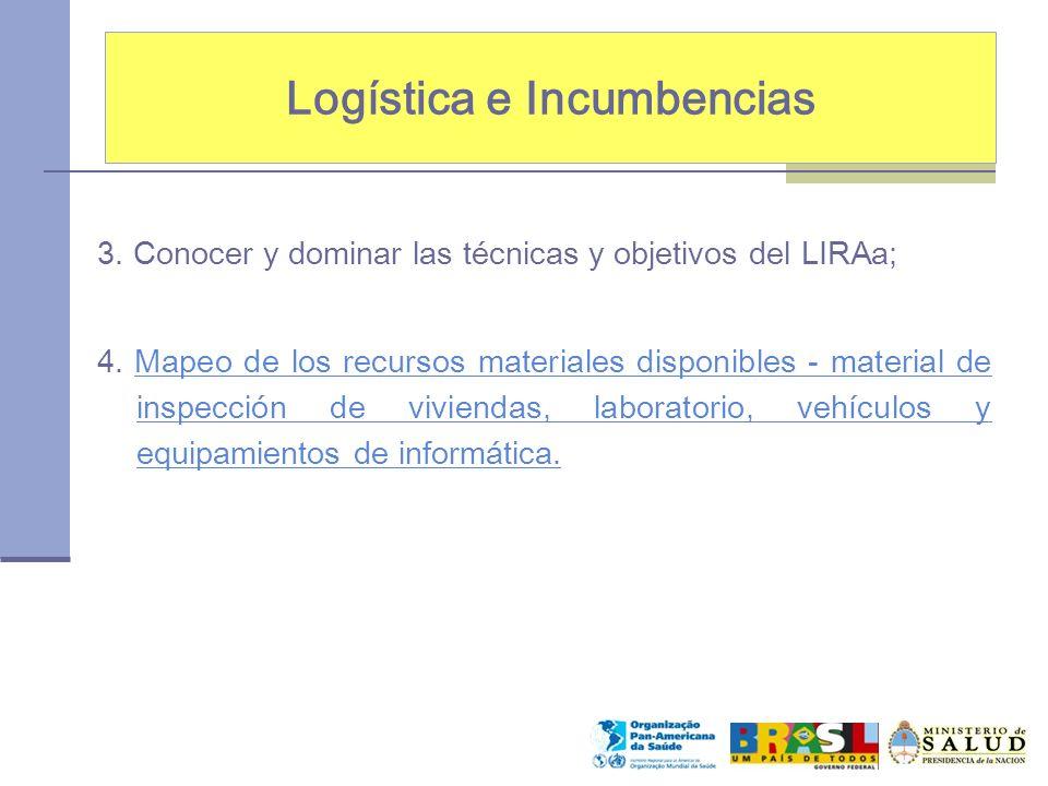 Logística e Incumbencias 3. Conocer y dominar las técnicas y objetivos del LIRAa; 4. Mapeo de los recursos materiales disponibles - material de inspec