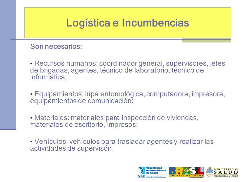 Logística e Incumbencias Son necesarios: Recursos humanos: coordinador general, supervisores, jefes de brigadas, agentes, técnico de laboratorio, técn