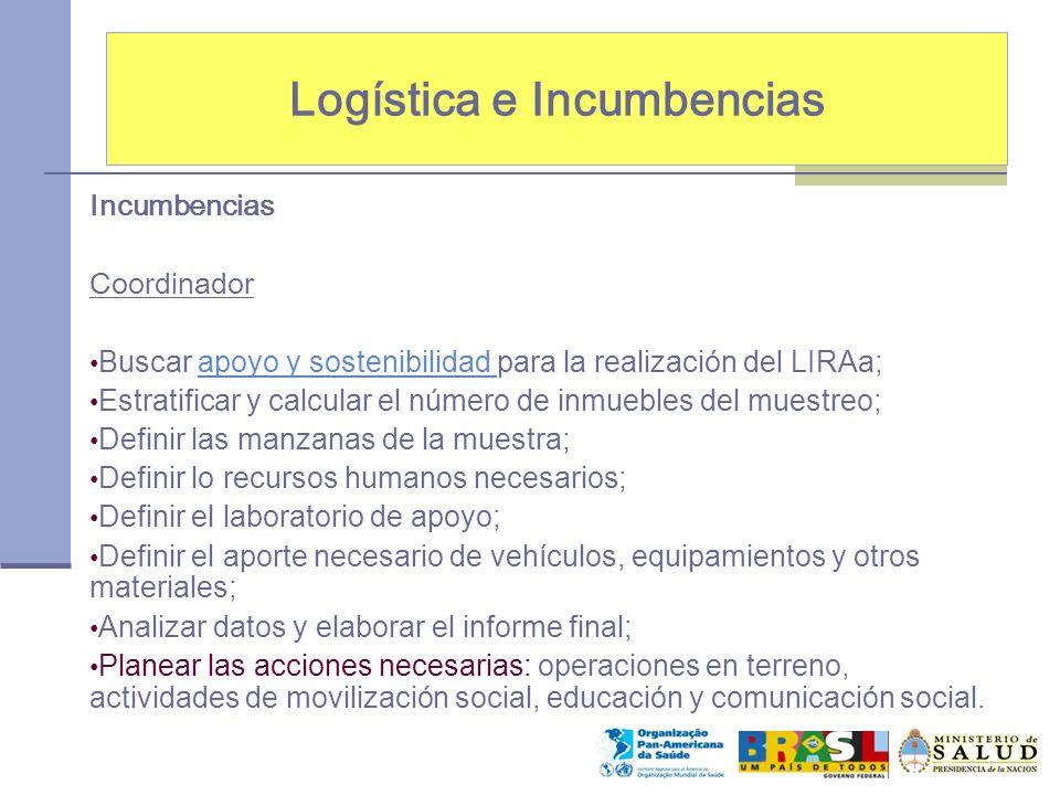 Logística e Incumbencias Incumbencias Coordinador Buscar apoyo y sostenibilidad para la realización del LIRAa;apoyo y sostenibilidad Estratificar y ca