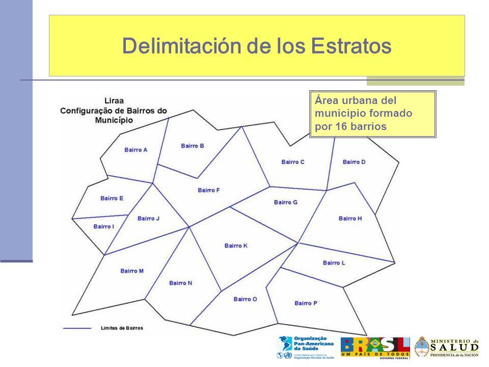 Delimitación de los Estratos Área urbana del municipio formado por 16 barrios