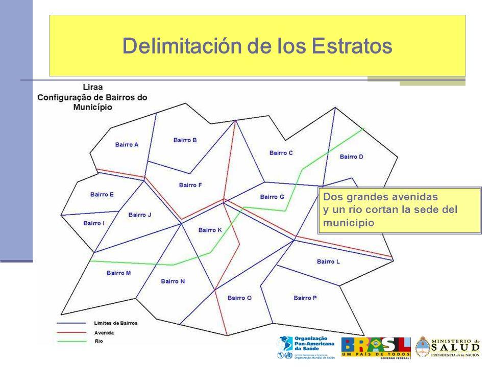 Delimitación de los Estratos Dos grandes avenidas y un río cortan la sede del municipio