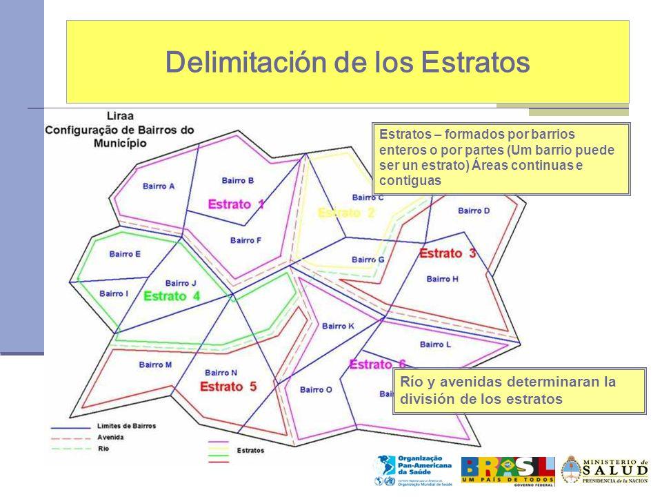 Delimitación de los Estratos Río y avenidas determinaran la división de los estratos Estratos – formados por barrios enteros o por partes (Um barrio puede ser un estrato) Áreas continuas e contiguas
