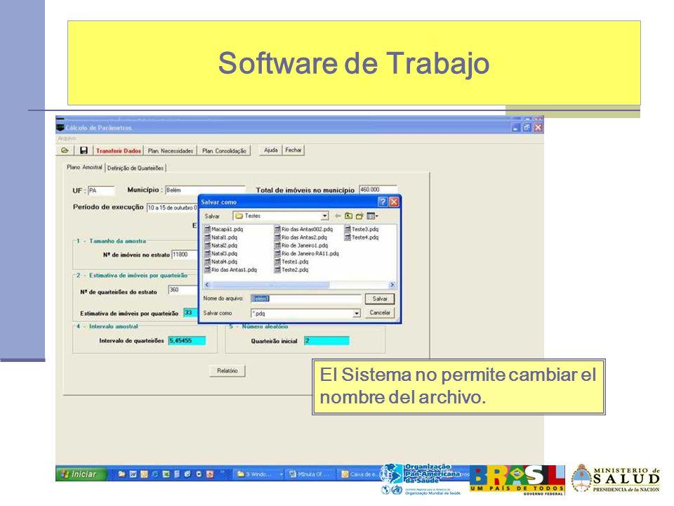 Software de Trabajo El Sistema no permite cambiar el nombre del archivo.