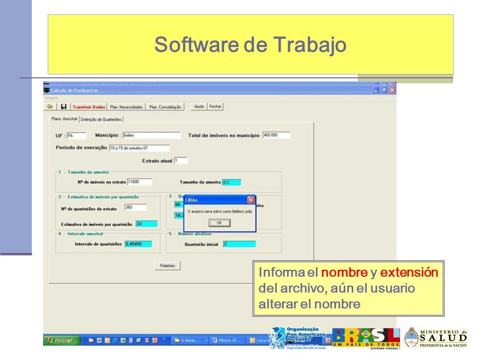 Software de Trabajo Informa el nombre y extensión del archivo, aún el usuario alterar el nombre