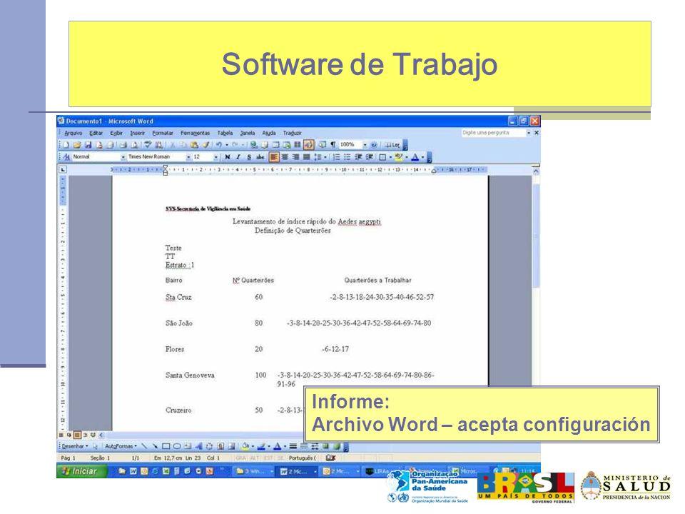 Software de Trabajo Informe: Archivo Word – acepta configuración