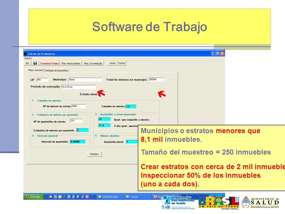 Software de Trabajo Municipios o estratos menores que 8,1 mil inmuebles. Tamaño del muestreo = 250 inmuebles Crear estratos con cerca de 2 mil inmuebl
