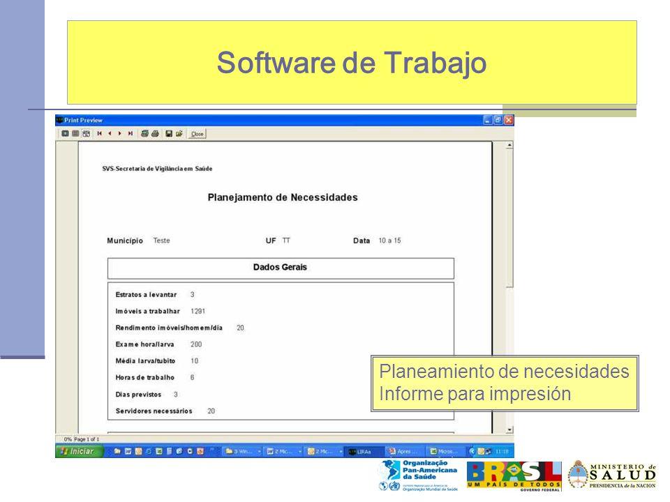 Software de Trabajo Planeamiento de necesidades Informe para impresión