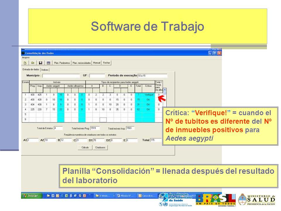 Software de Trabajo Planilla Consolidación = llenada después del resultado del laboratorio Crítica: Verifique! = cuando el Nº de tubitos es diferente
