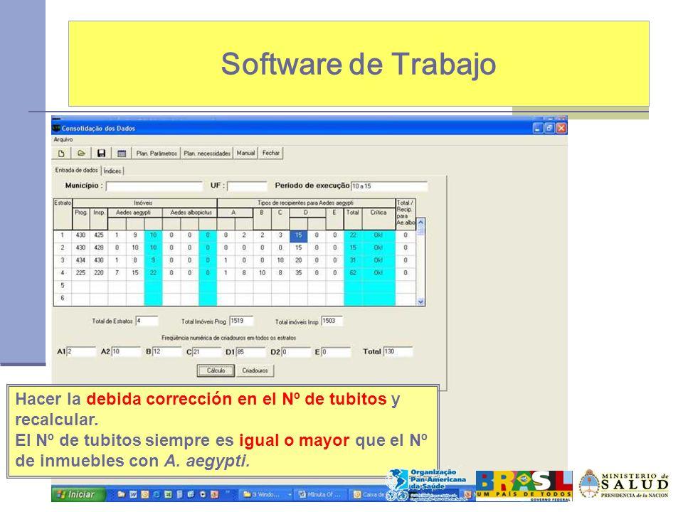 Software de Trabajo Hacer la debida corrección en el Nº de tubitos y recalcular. El Nº de tubitos siempre es igual o mayor que el Nº de inmuebles con