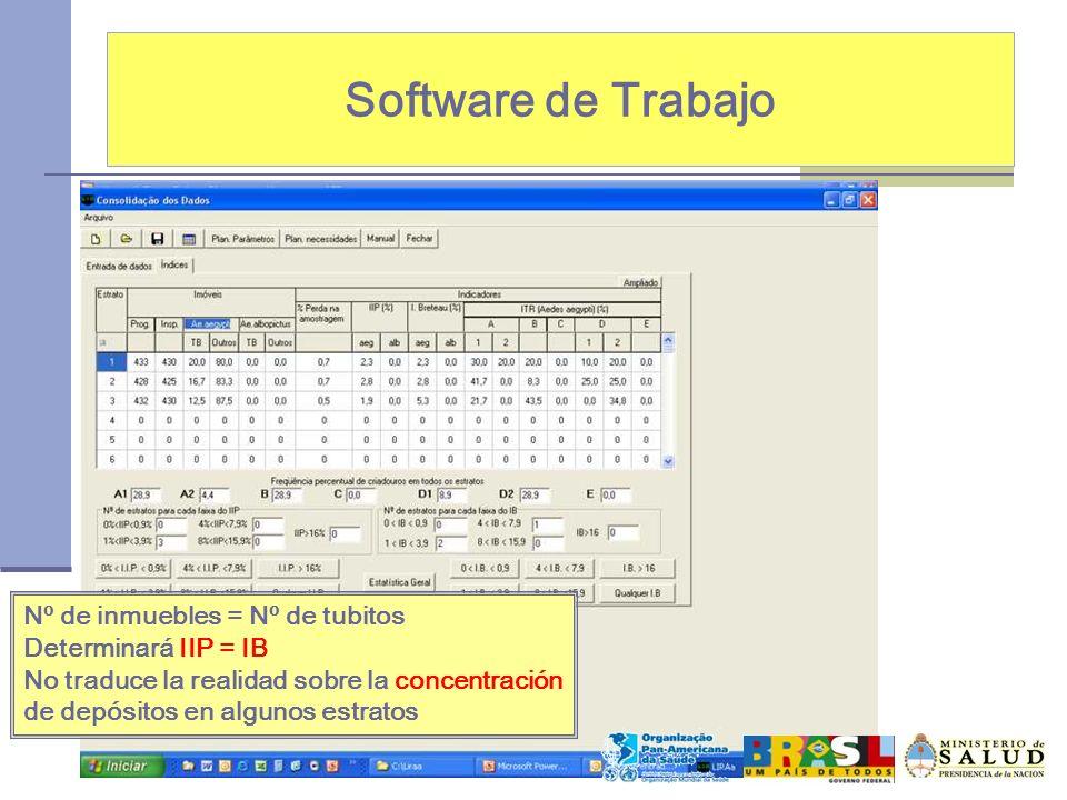 Software de Trabajo Nº de inmuebles = Nº de tubitos Determinará IIP = IB No traduce la realidad sobre la concentración de depósitos en algunos estrato
