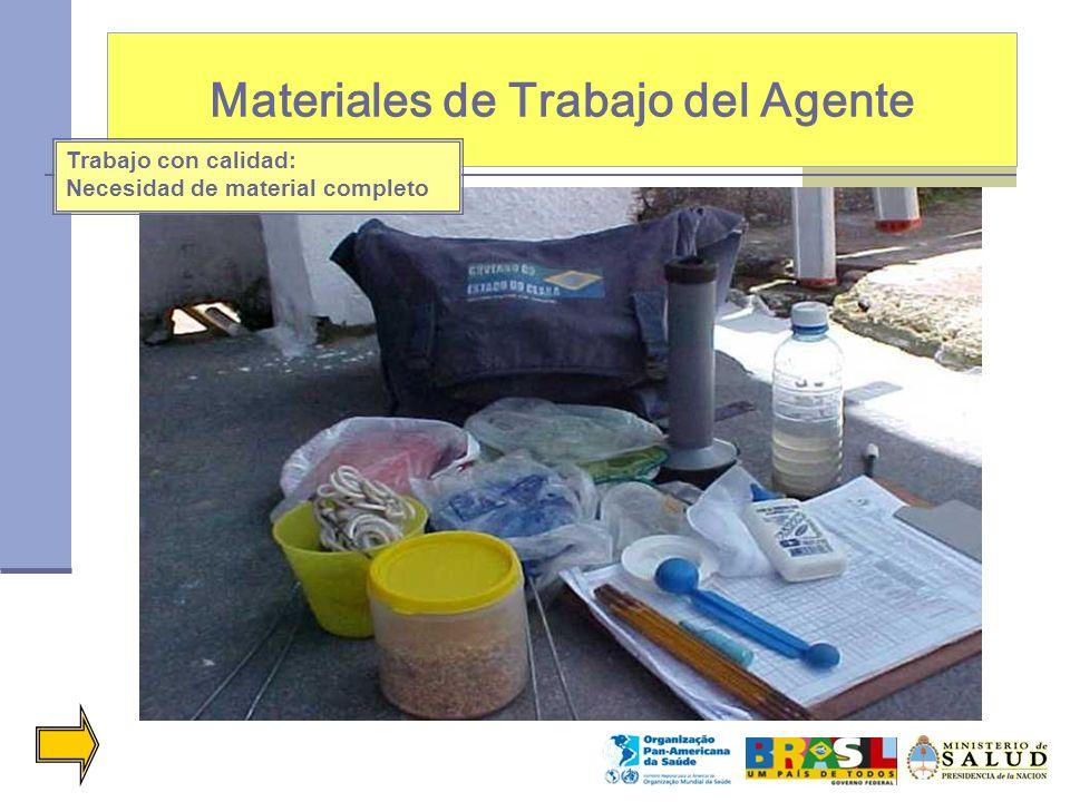 Materiales de Trabajo del Agente Trabajo con calidad: Necesidad de material completo