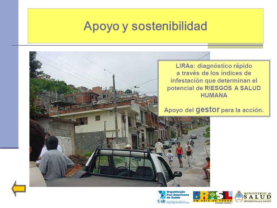Apoyo y sostenibilidad LIRAa: diagnóstico rápido a través de los índices de infestación que determinan el potencial de RIESGOS A SALUD HUMANA Apoyo de