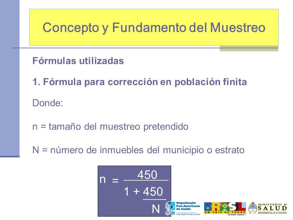 Concepto y Fundamento del Muestreo Fórmulas utilizadas 1. Fórmula para corrección en población finita Donde: n = tamaño del muestreo pretendido N = nú