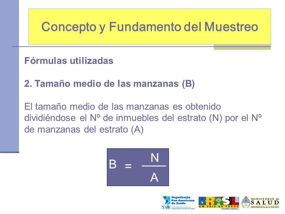 Concepto y Fundamento del Muestreo Fórmulas utilizadas 2. Tamaño medio de las manzanas (B) El tamaño medio de las manzanas es obtenido dividiéndose el
