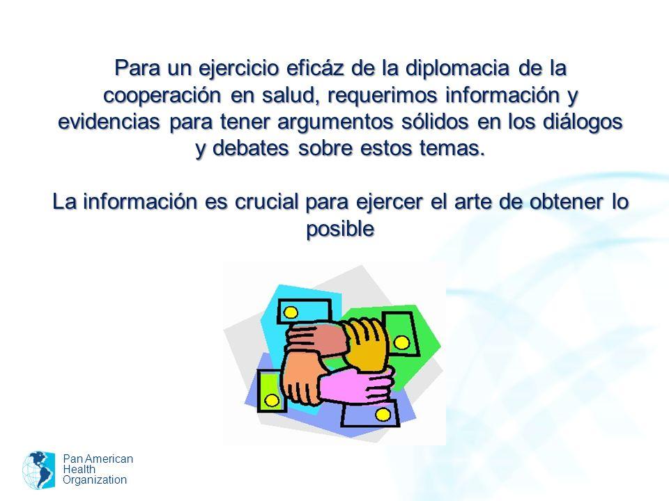 Pan American Health Organization Para un ejercicio eficáz de la diplomacia de la cooperación en salud, requerimos información y evidencias para tener