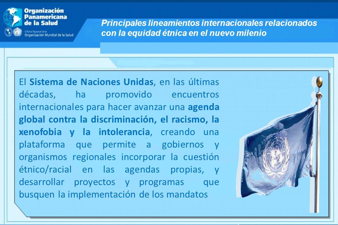 El Sistema de Naciones Unidas, en las últimas décadas, ha promovido encuentros internacionales para hacer avanzar una agenda global contra la discrimi
