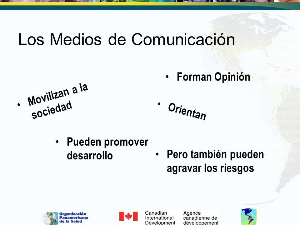 Los Medios de Comunicación Forman Opinión Movilizan a la sociedad Orientan Pueden promover desarrollo Pero también pueden agravar los riesgos