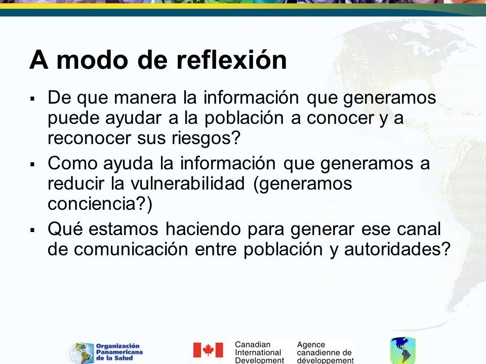 A modo de reflexión De que manera la información que generamos puede ayudar a la población a conocer y a reconocer sus riesgos? Como ayuda la informac