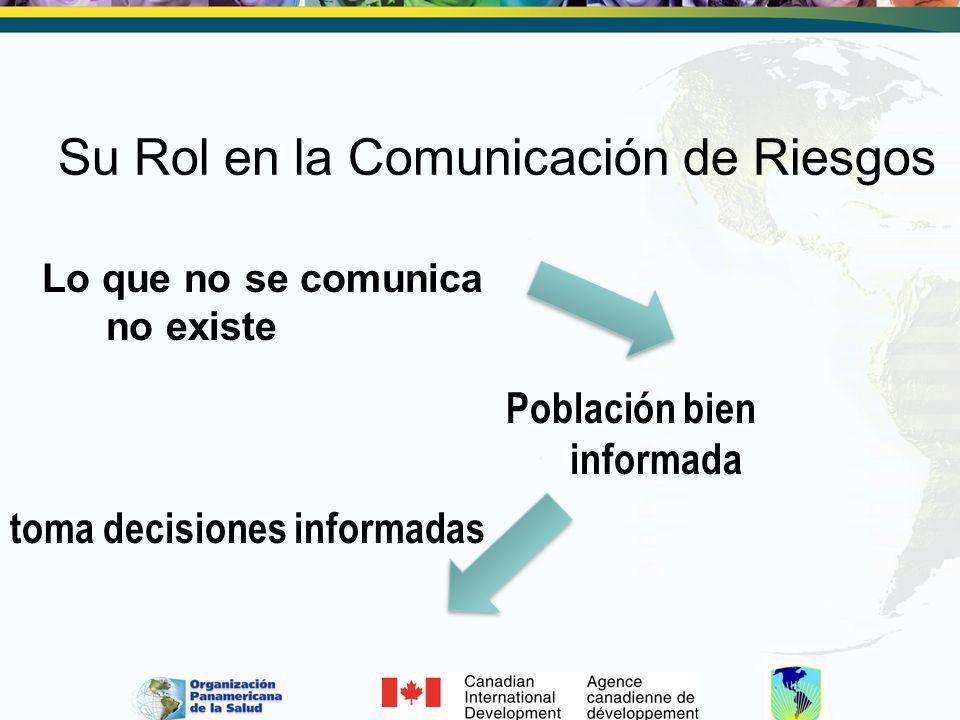 Su Rol en la Comunicación de Riesgos Lo que no se comunica no existe Población bien informada toma decisiones informadas