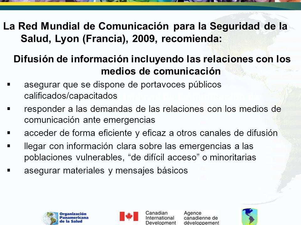 Capacidades básicas de comunicación de riesgos para emergencias de salud pública Difusión de información incluyendo las relaciones con los medios de c