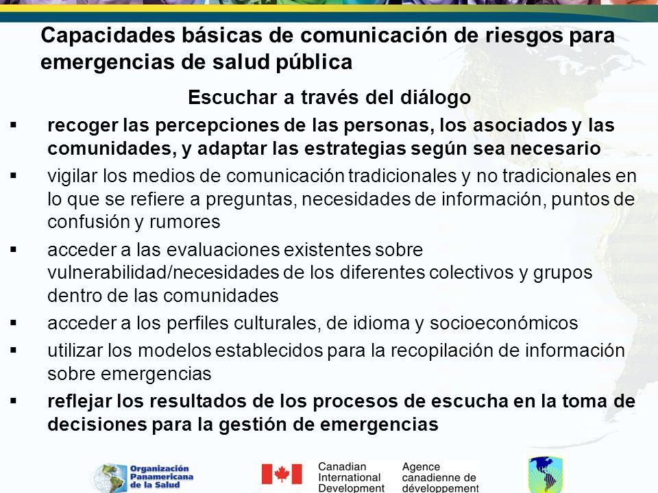 Capacidades básicas de comunicación de riesgos para emergencias de salud pública Escuchar a través del diálogo recoger las percepciones de las persona