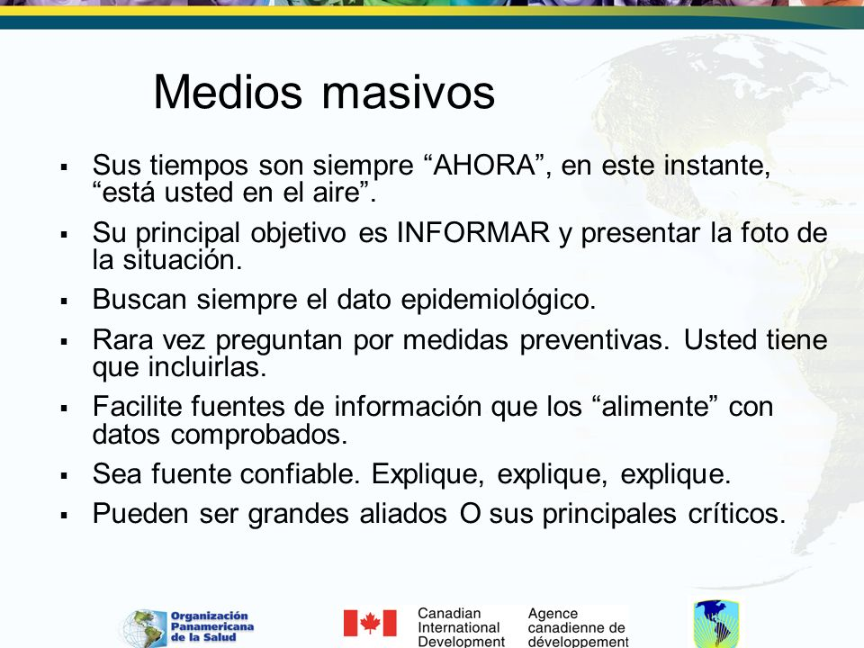 Sitio-web Comunicadores a tiempo completo El sitio web puede ser el del Ministerio de Salud en link con la página de Defensa Civil y otras posibles fuentes de información.