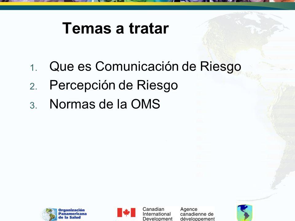 Temas a tratar 1. Que es Comunicación de Riesgo 2. Percepción de Riesgo 3. Normas de la OMS