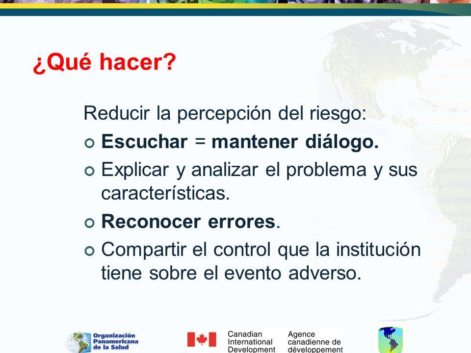 ¿Qué hacer? Reducir la percepción del riesgo: Escuchar = mantener diálogo. Explicar y analizar el problema y sus características. Reconocer errores. C