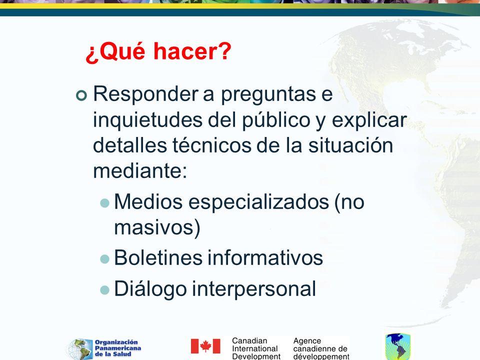 ¿Qué hacer? Responder a preguntas e inquietudes del público y explicar detalles técnicos de la situación mediante: Medios especializados (no masivos)
