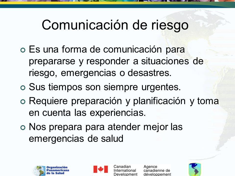 Comunicación de riesgo Es una forma de comunicación para prepararse y responder a situaciones de riesgo, emergencias o desastres. Sus tiempos son siem